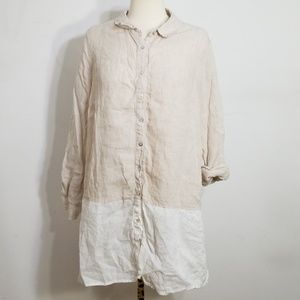 Tahari Natural Linen Tunic Colorblock Shirt 1X
